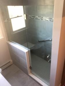 Custom Shower Door With Fixed Panel On Kneewall