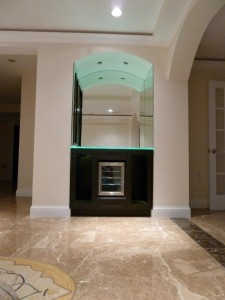 Custom Glass & Mirror Wine Nook